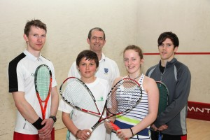 Irish No 1 Arthur Gaskin, Sutton coach Eoin Ryan, English international Chris Simpson with Sutton  juniors Sam Buckley and Stephanie Ryan.