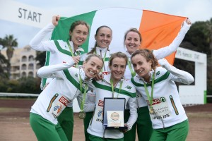 13 December 2015; The bronze medal winning Ireland Senior Women's team, top row from left, Caroline Crowley, Kerry O'Flaherty, Ciara Durkan, bottom row from left, Lizzie Lee, Fionnuala McCormack, and Michelle Finn. SPAR European Cross Country Championships Hyeres 2015. Paray Le Monial, France
